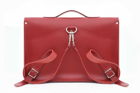 Zatchels Handmade Leather Satchel Backpack in red on a white background