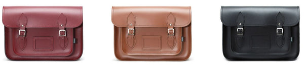 Zatchels Handmade Leather Satchel- Red, Brown and Black on a white background