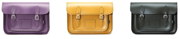 Zatchels Handmade Leather Classic Satchels - Purple, Yellow, and Ivy Green on a white background