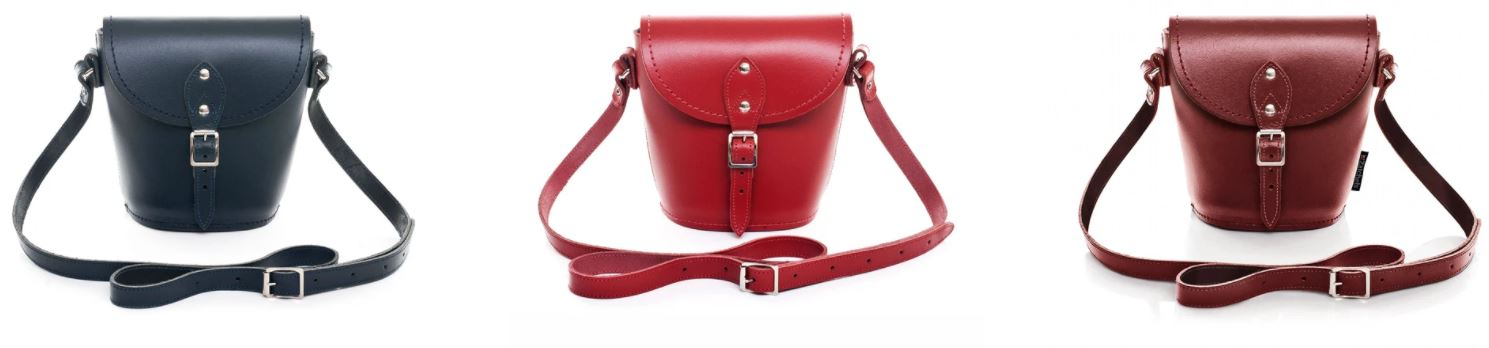3 x Zatchels Handmade Leather Barrel Bags In Navy Blue, Red, and Oxblood Red