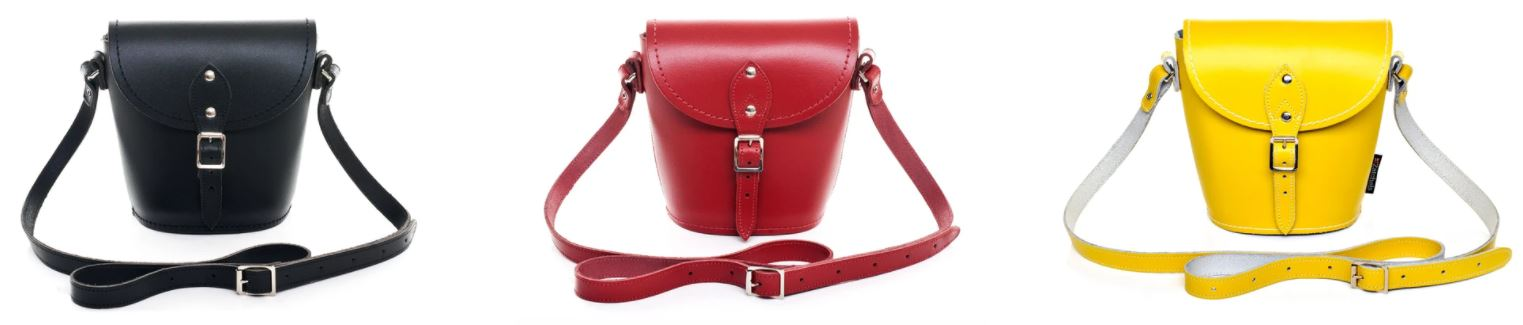 Zatchels Handmade Leather Barrel Bags Banner - Black, Red, And Pastel Yellow