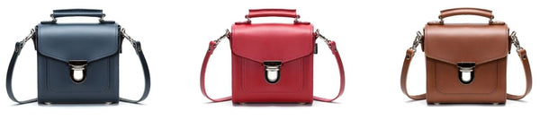 Zatchels Handmade Leather Sugarcube Handbags-Blue, Red and Brown on a white background