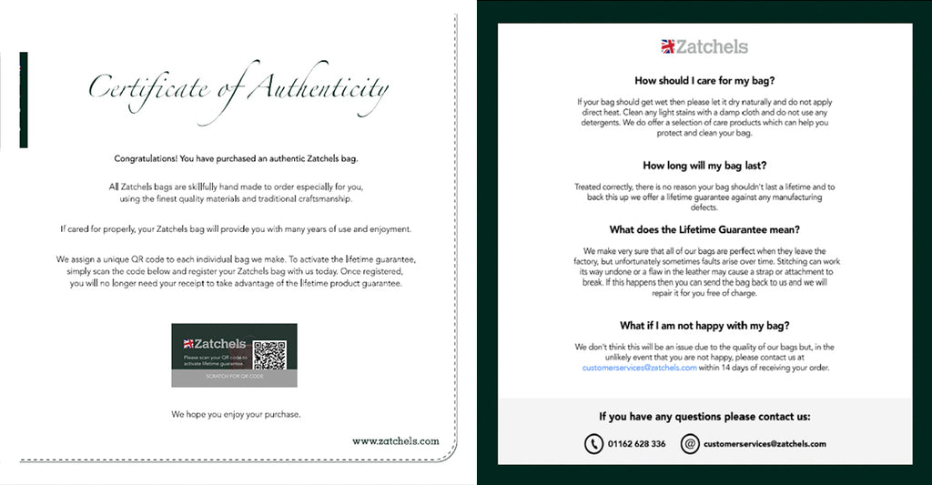 New Zatchels Certificate Of Authenticity (Front & Back)