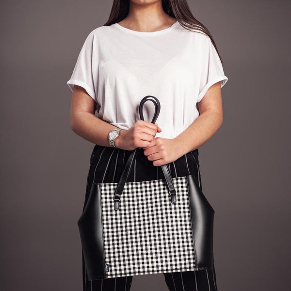 Woman Holding Zatchels Handmade Leather Gingham Tote Bag