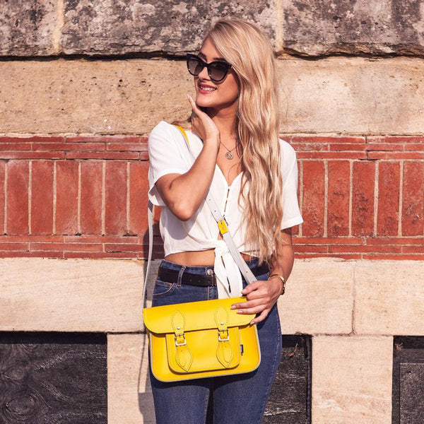Woman Holding Yellow Zatchels Satchel Laptop Bag
