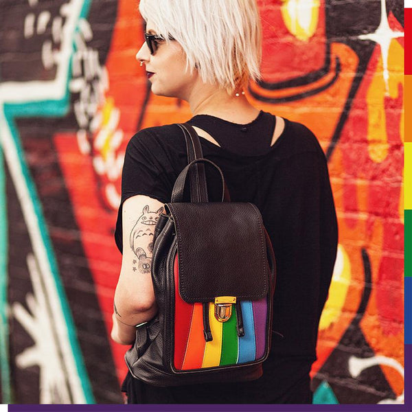 Woman Carrying Zatchels Handmade Leather Pride Rainbow Laptop Backpack