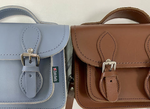 Blue and red Zatchels Satchel side by side