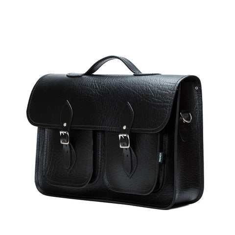Twin Pocket Executive Handmade Leather Satchel on a white background