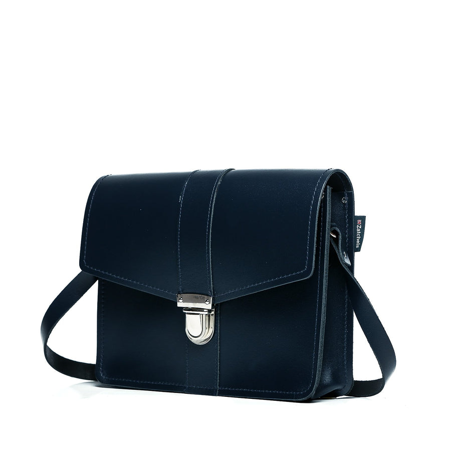 Navy Leather Shoulder Bag - Shoulder Bag - Zatchels