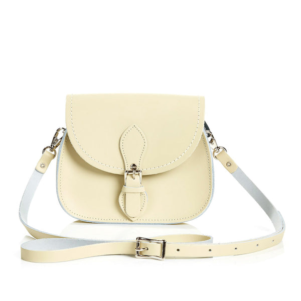 Pastel Cream Leather Micro Saddle - Micro Saddle - Zatchels