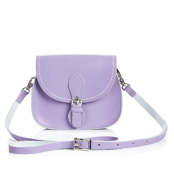 Pastel Violet Leather Micro Saddle - Micro Saddle - Zatchels