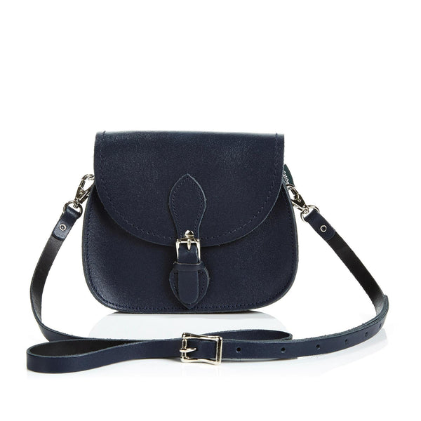 Navy Leather Micro Saddle - Micro Saddle - Zatchels