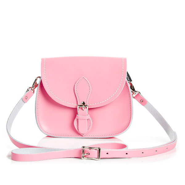 Pastel Pink Leather Micro Saddle - Micro Saddle - Zatchels