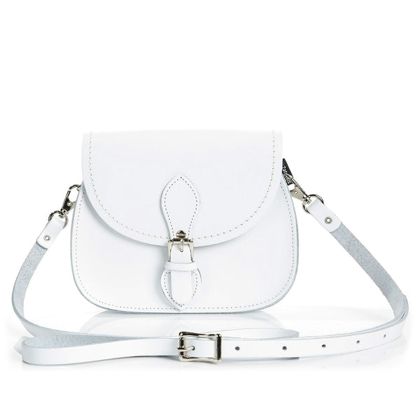 White Leather Micro Saddle - Micro Saddle - Zatchels
