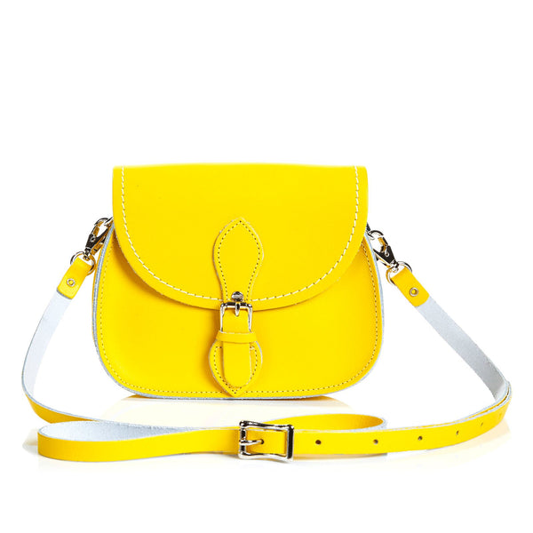 Pastel Daffodil Yellow Leather Micro Saddle - Micro Saddle - Zatchels