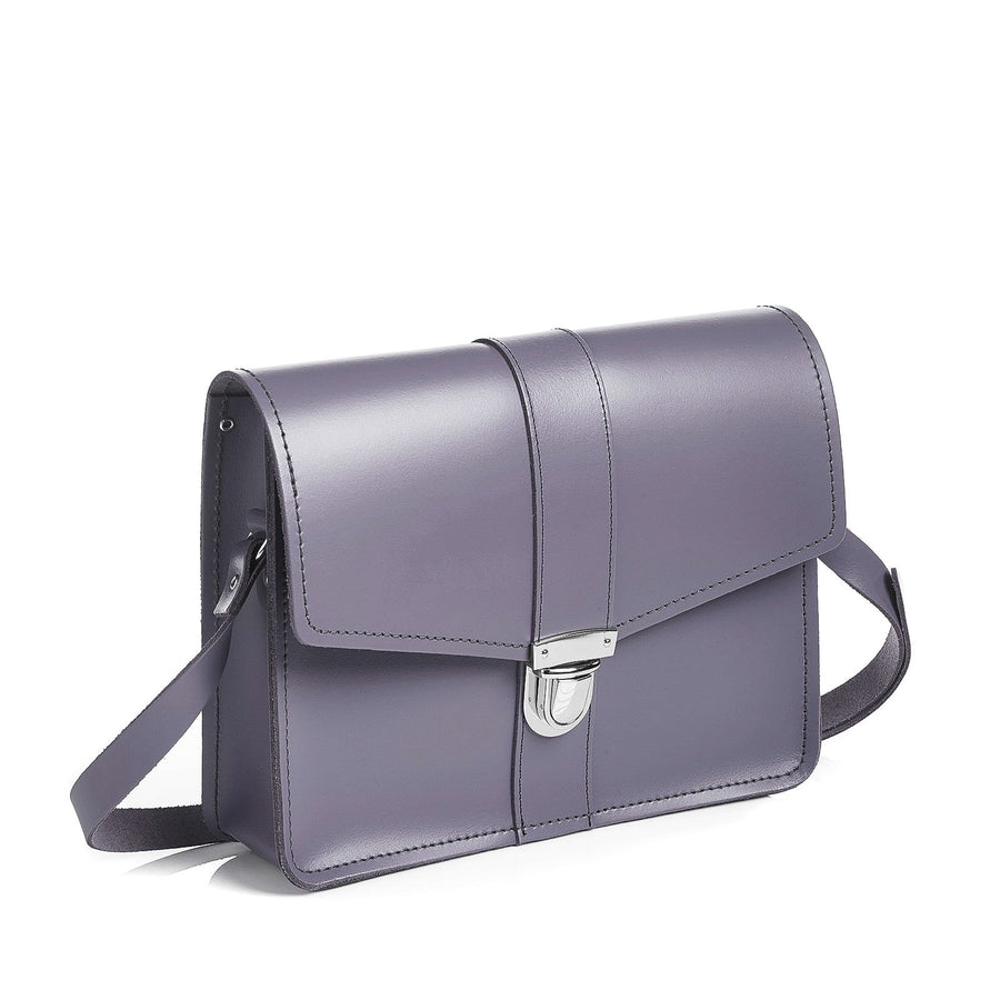 Lilac Grey Leather Shoulder Bag - Shoulder Bag - Zatchels