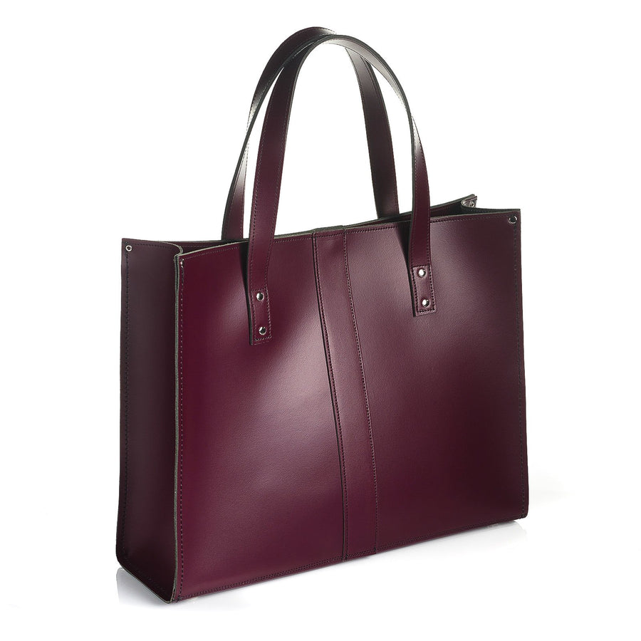 Marsala Red Leather Shopper - Shopper - Zatchels