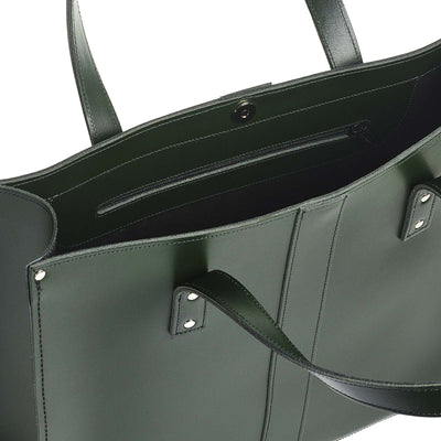 Ivy Green Leather Shopper - Shopper - Zatchels