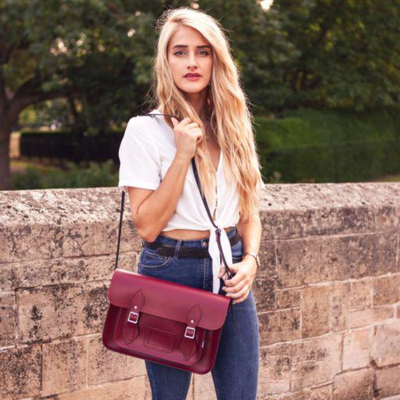 Handmade Leather Satchel - Purple