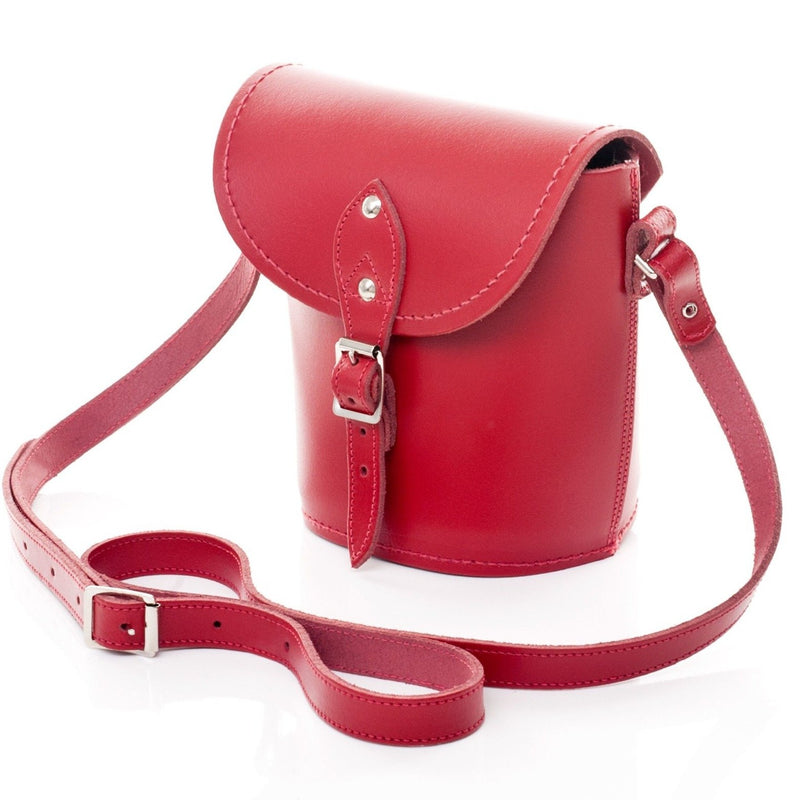 Handmade Leather Barrel Bag - Red