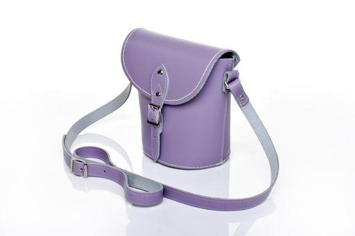 Handmade Leather Barrel Bag - Pastel Violet