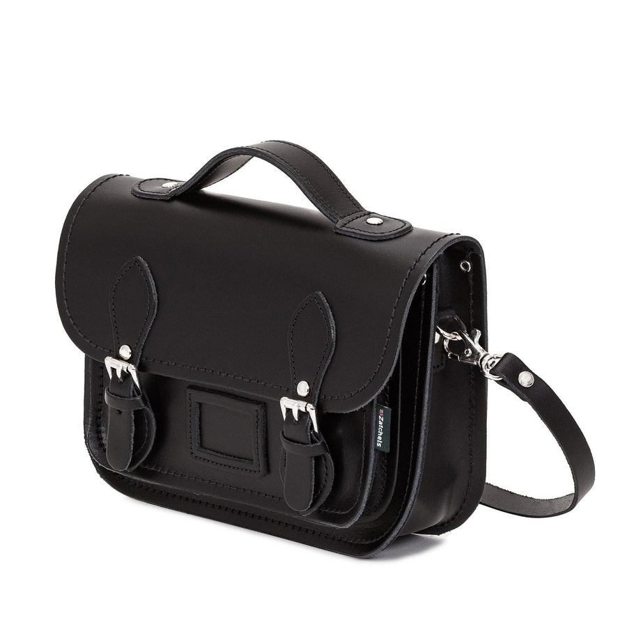 Black Leather Midi Satchel - Midi Satchel - Zatchels