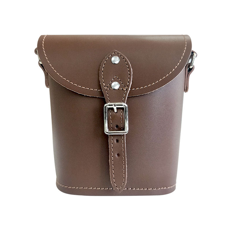 Handmade Leather Barrel Bag - Chocolate