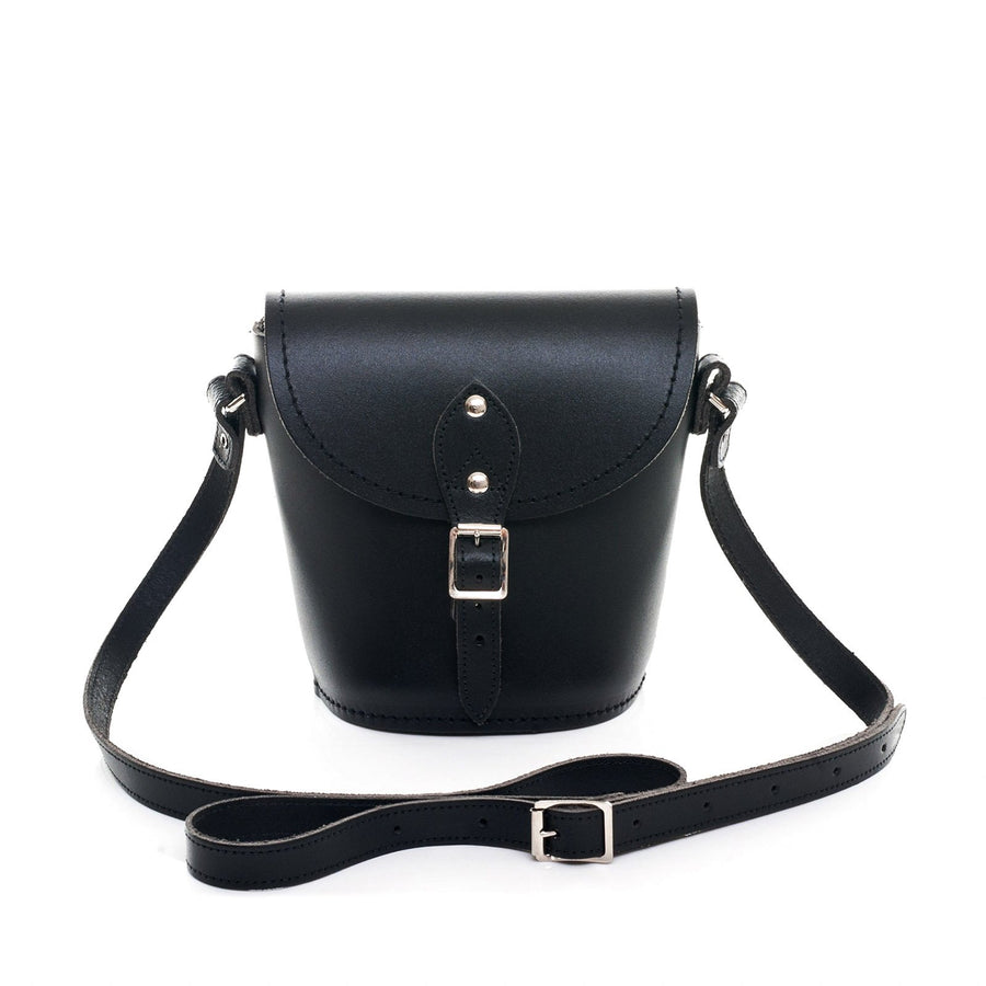 Black Leather Barrel Bag - Barrel Bag - Zatchels