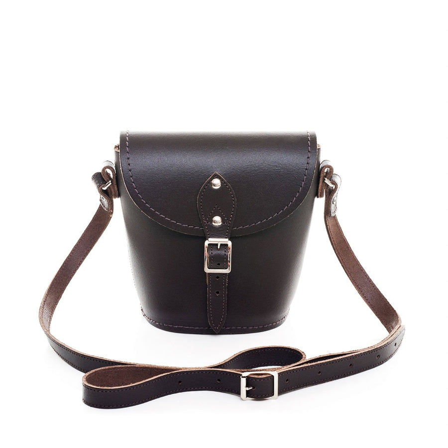 Dark Brown Leather Barrel Bag - Barrel Bag - Zatchels