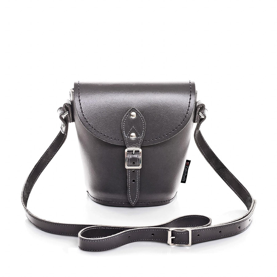 Graphite Leather Barrel Bag - Barrel Bag - Zatchels