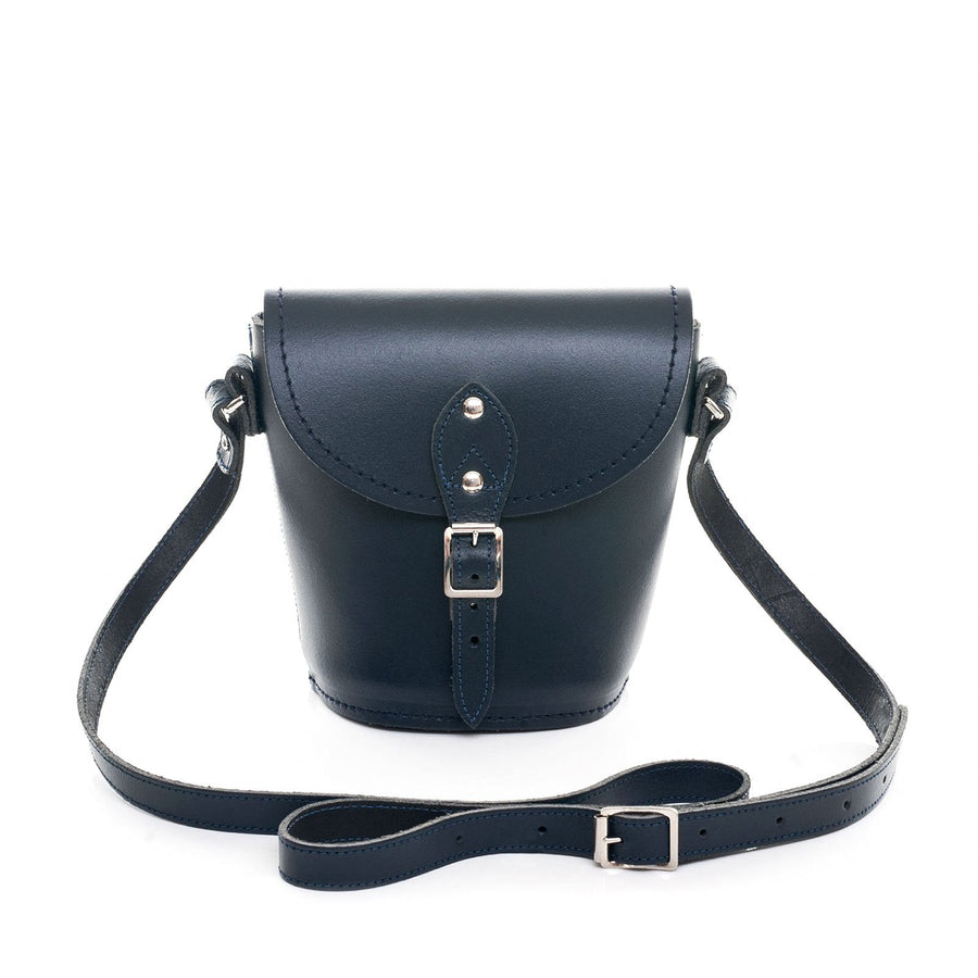 Navy Leather Barrel Bag - Barrel Bag - Zatchels