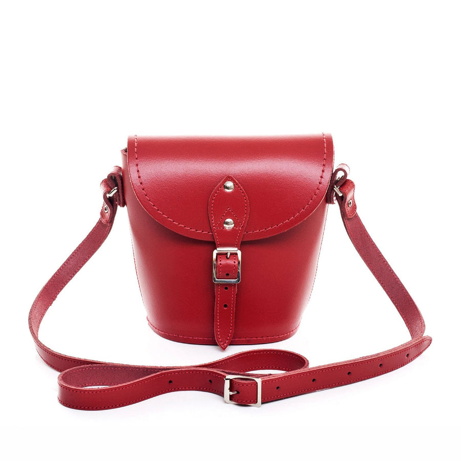 Red Leather Barrel Bag - Barrel Bag - Zatchels