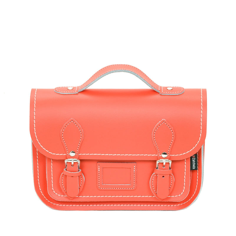 Coral Leather Midi Satchel - Midi Satchel - Zatchels