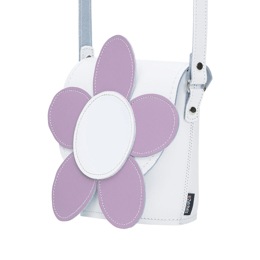 White & Violet Daisy Leather Novelty Bag - Novelty Bag - Zatchels