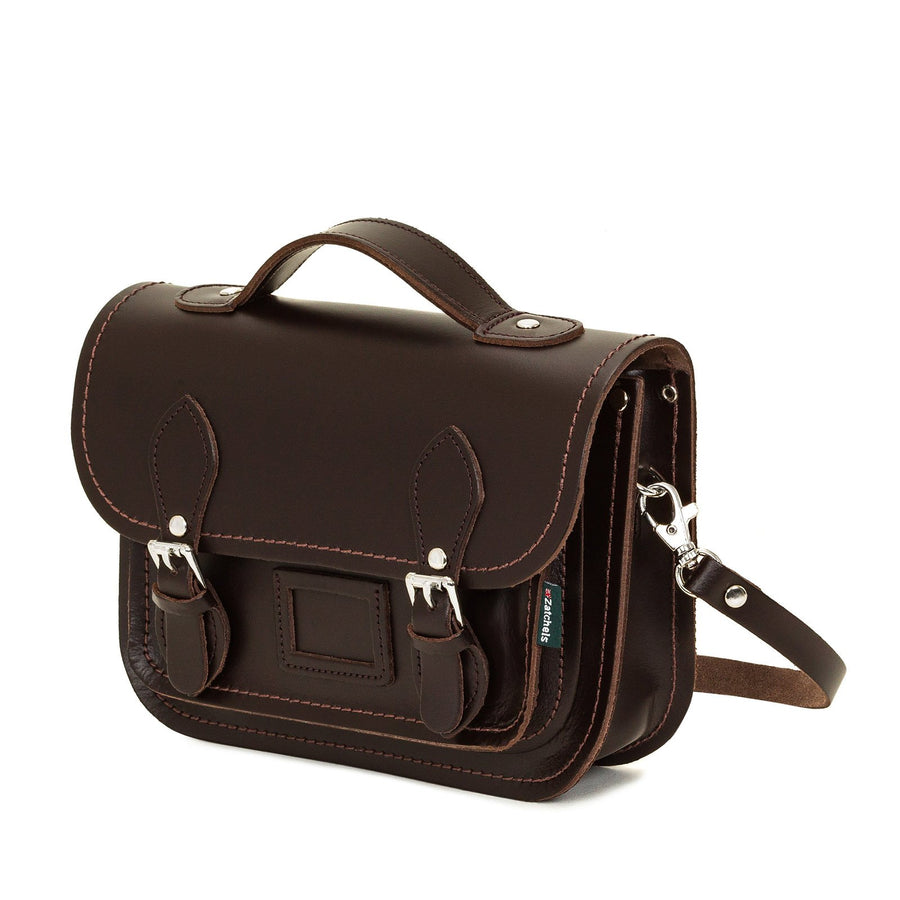 Dark Brown Leather Midi Satchel - Midi Satchel - Zatchels