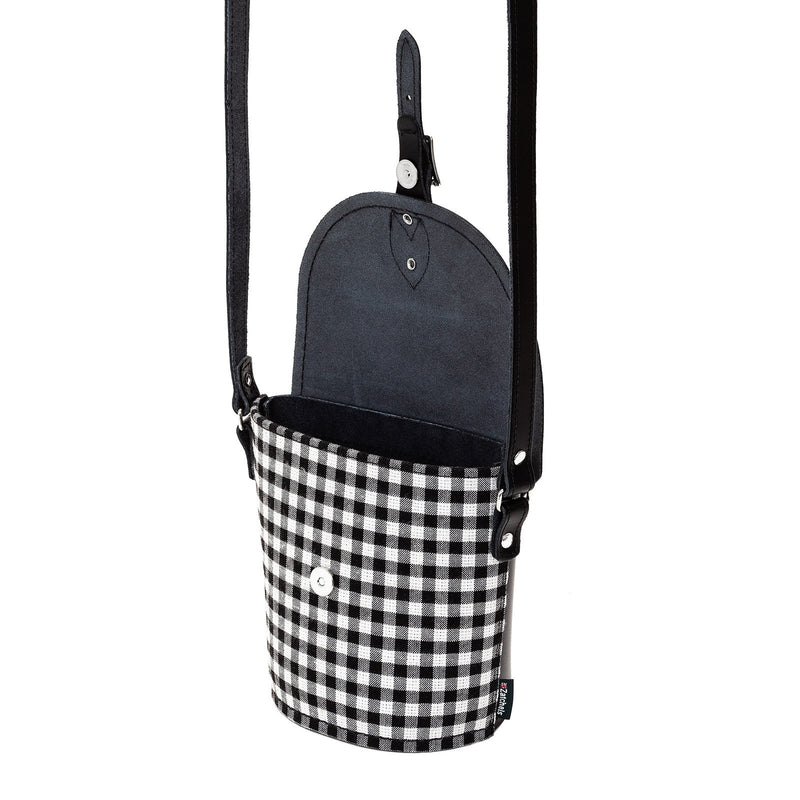 Gingham Leather Barrel Bag - Barrel Bag - Zatchels