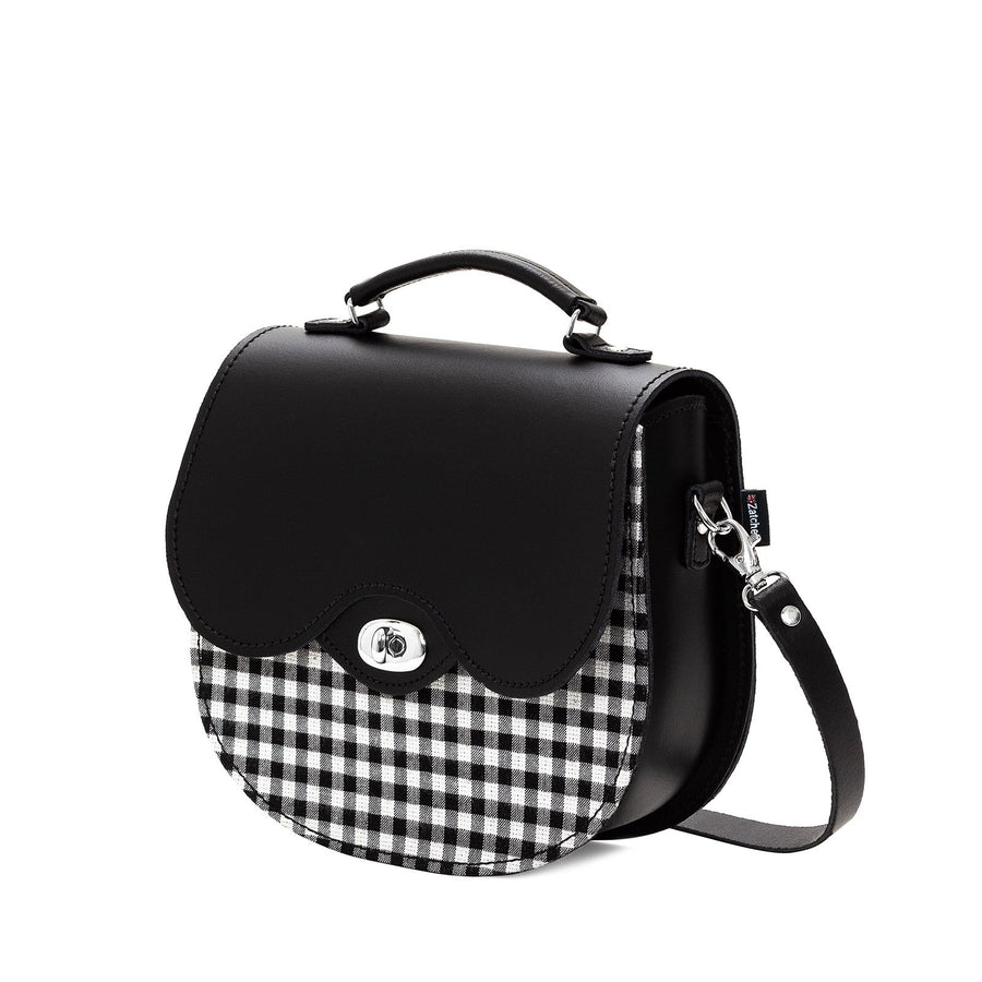 Gingham Leather Saddle Bag - Saddle Bag - Zatchels