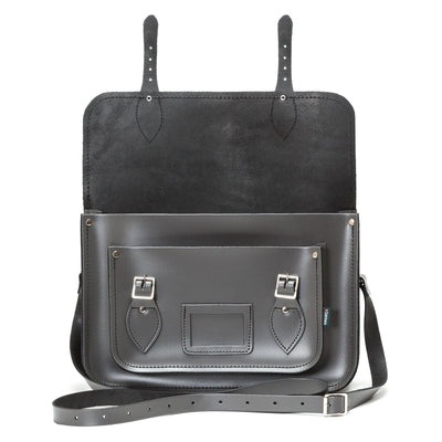 Graphite Leather Satchel - Satchel - Zatchels