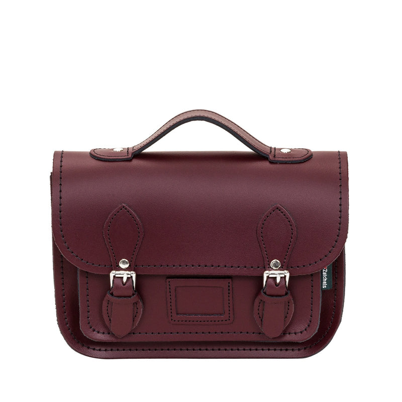 Marsala Red Leather Midi Satchel - Midi Satchel - Zatchels