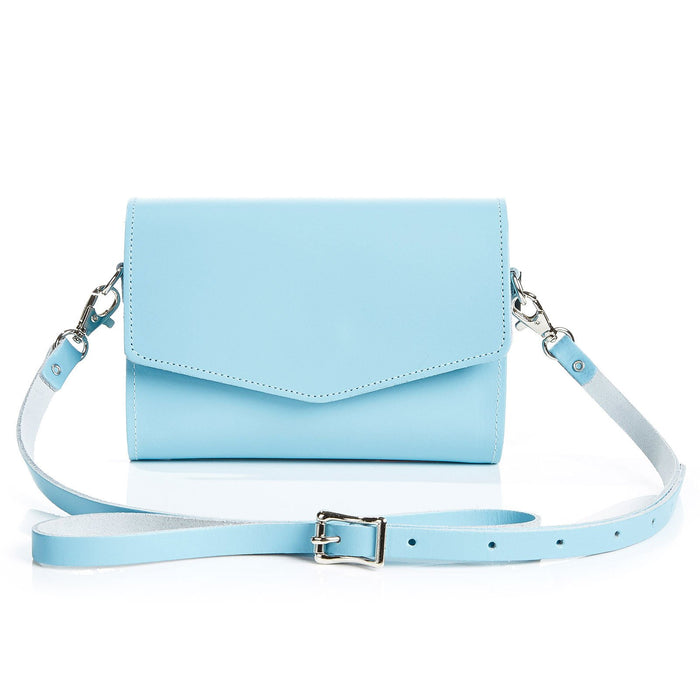 Handmade Leather Clutch Bag - Pastel Baby Blue