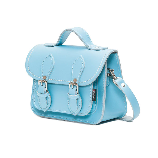 Pastel Baby Blue Leather Micro Satchel - Micro Satchel - Zatchels