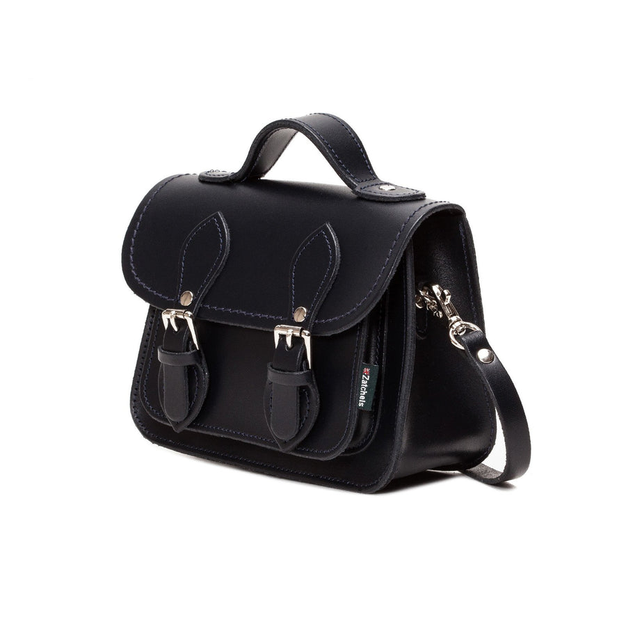 Black Leather Micro Satchel - Micro Satchel - Zatchels