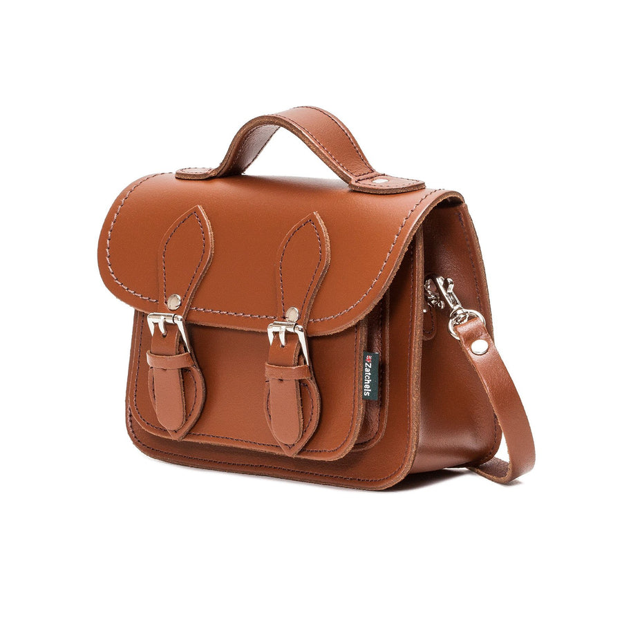 Chestnut Leather Micro Satchel - Micro Satchel - Zatchels