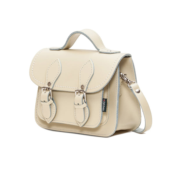 Pastel Cream Leather Micro Satchel - Micro Satchel - Zatchels
