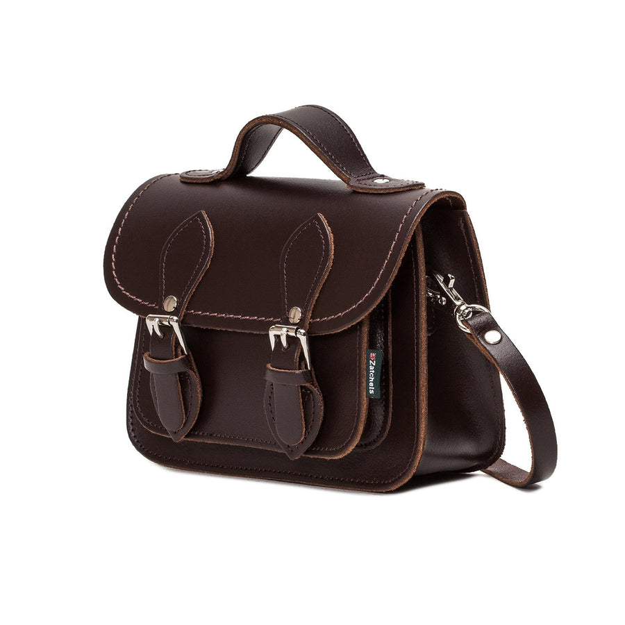 Dark Brown Leather Micro Satchel - Micro Satchel - Zatchels
