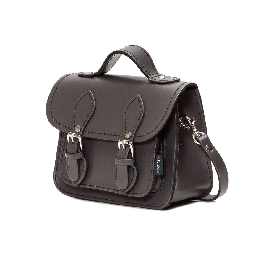 Graphite Leather Micro Satchel - Micro Satchel - Zatchels