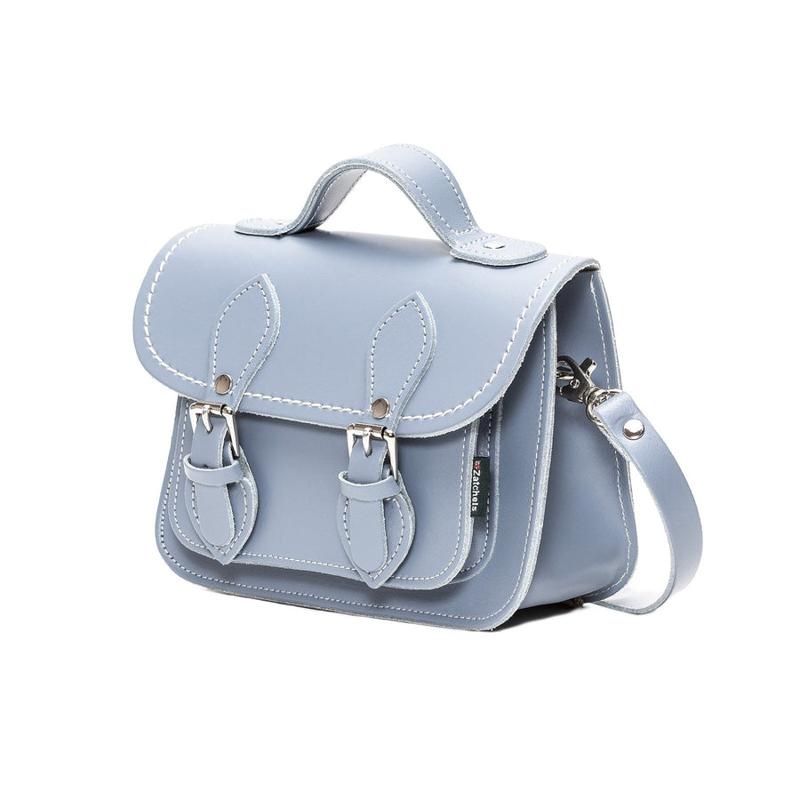 Lilac Grey Leather Micro Satchel - Micro Satchel - Zatchels