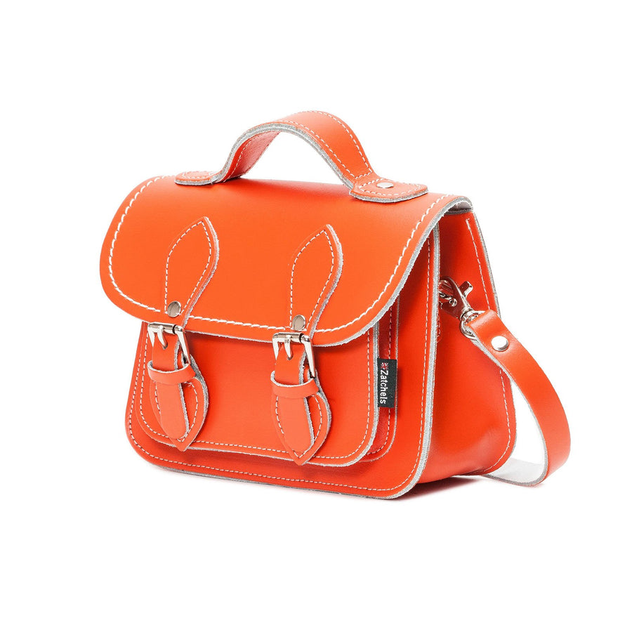 Orange Leather Micro Satchel - Micro Satchel - Zatchels