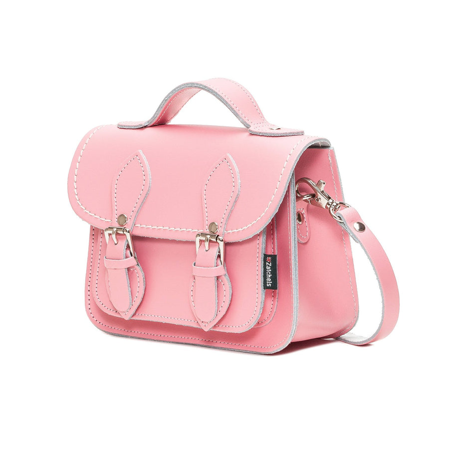Pastel Pink Leather Micro Satchel - Micro Satchel - Zatchels