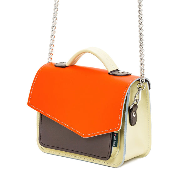 Orange Leather Edge Mini Cross Body Bag - Cross Body Bag - Zatchels